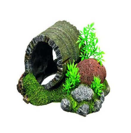 Trätunnel med växter 18,5x15,5x9 cm