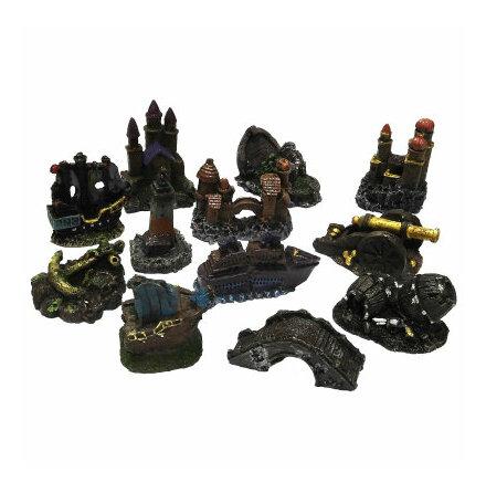Akvariedekorationer mini 6x7x3,5 cm olika figurer
